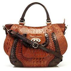 Madi Claire Croco Embossed Leather Satchel W Removable Shoulder Strap Brown Trim Dark
