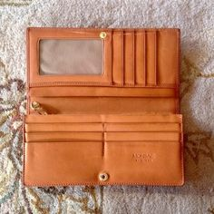 Vintage Monsac Caramel Brown Leather Foldover Clutch Wallet