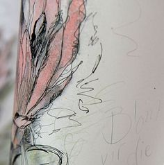 Hermien Van Der Merwe; Detail of 'Blom vir die Koning', (Flower for the King), in mixed media on paper.