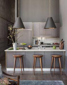 Kitchen breakfast bar with a moody intimate scheme