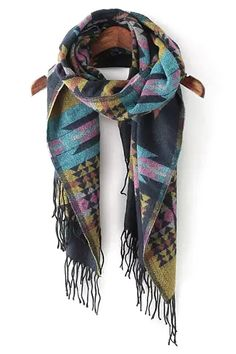Gorgeous Colors! Love Love Love this Scarf! Turquoise Blue Purple and Lime Geometric Jacquard Tassels Scarf #Gorgeous #Color #Artsy #Scarf #Fashion #Accesories