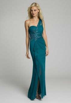 Long Dresses - Mesh One Shoulder Long Dress with Beading from Camille La Vie and Group USA