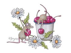 Hand Drawn Clipart Mice Gathering Cherries by ToadstoolPrintables
