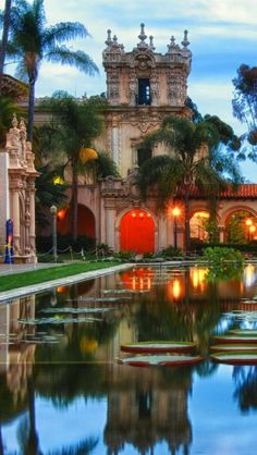 "Balboa Park, El Prado, San Diego, CA. ""My father grew up in San Diego. Earliest memories of Balboa Park are riding there from Yuma, AZ on the back of my dad's motorcycle when I was a kid. Places Around The World, The Places Youll Go, Places To See, Around The Worlds, Wonderful Places, Beautiful Places, Great Places, Beautiful Park, Beautiful Gardens"