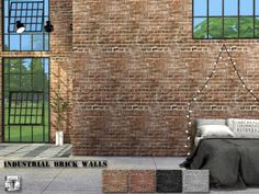 Industrial Brick Walls The Sims 4 Catalog Sims 4 Cc Brick Wallpaper Brick Wallpaper White Brick Wallpaper