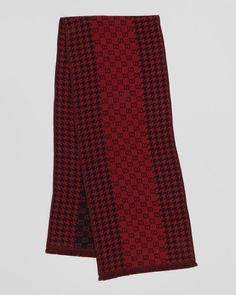 Gucci Men GG Houndstooth Scarf, Red/Black NWT $285 #Gucci #Scarf