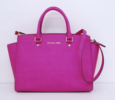 Michael Kors Hot Pink Leather Selma Satchel Bag-LOVE THE COLOR