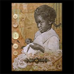 African American Artists Paintings | Sewing. Vintage African American girl doing needlework. 11x14. Private ...