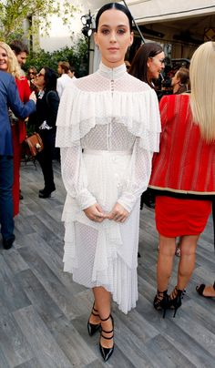 Katy Perry in a white lace ruffle Rodarte dress