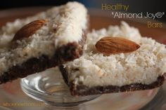 """These No Bake """"Almond Joy"""" Bars are one of our fave recipes. They easy to make, freeze well & are loaded with coconut oil & other healthy ingredients."""