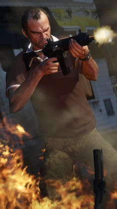 Trevor with a machine gun Game Gta V, Gta 5 Games, Grand Theft Auto Games, Grand Theft Auto Series, San Andreas, Gta 5 Mobile, Gta Funny, Manchester City Wallpaper, Trevor Philips