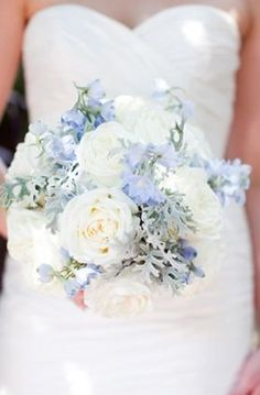 Romantic dusty blue and white garden bouquet.
