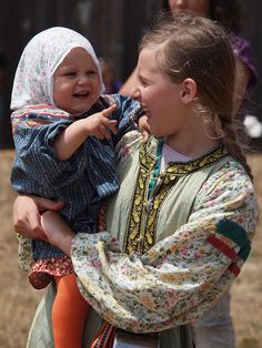 Girls wearing Traditional Russian Costumes