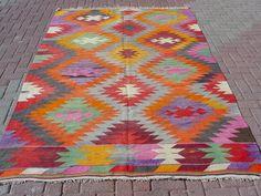 "VINTAGE Turkish Kilim Rug Carpet, Handwoven Kilim Rug, Antique Kilim Rug,Decorative Kilim, Natural Wool 67"" X 108''"