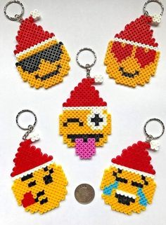 Emoji Face Santa Hat Keyrings Xmas Gift / Stocking Filler PKT(5) NEW UK