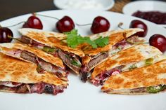 Duck quesadillas with chipotle cherry salsa and goat cheese. #recipes #duck