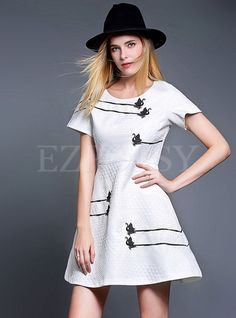 Shop for high quality Short Sleeve Aline Fashion Dress online at cheap prices and discover fashion at Ezpopsy.com