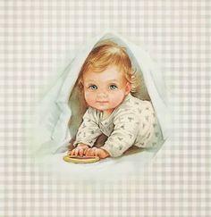 Tarjetas de Bebé Saliendo de las Sábanas, para Imprimir Gratis.