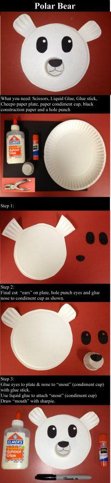 Polar Bear Paper Plate.  A simple project for Pre-K kids that can be modified and made more complex for older students.