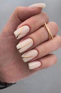 Golden Nail Art, Golden Nails, Bridal Nails Designs, Bridal Nail Art, Chic Nails, Stylish Nails, Trendy Nail Art, Square Nail Designs, Nail Art Designs