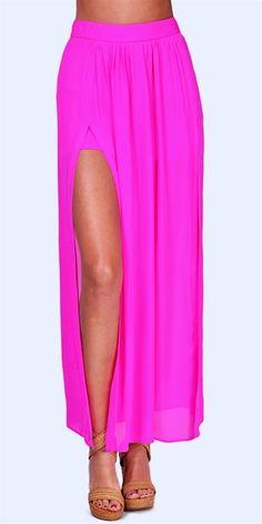 Jennifer Hope Pleated Slit Maxi Skirt.