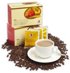 Maca Vita Café Esta mezcla de café de gran sabor contiene nata en polvo de origen vegetal, azúcar, café instantáneo, polvo de ginseng (Panax ginseng) y Maca en polvo (Lepidium meyenii).