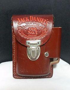 Vintage 1970's Jack Daniels Leather Cigarette & Lighter Holder Belt Pouch