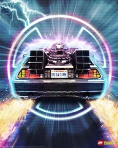 delorean Back To The Future by Sam Gilbey Back To The Future Tattoo, Back In The Future, Slytherin, Hogwarts, Future Wallpaper, Cinema Tv, Bttf, Ready Player One, Pop Culture Art