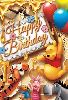 Most Popular Ideas For Happy Birthday Gif Pooh Happy Birthday Disney, Birthday Wishes Cake, Birthday Cartoon, Cute Happy Birthday, Happy Birthday Celebration, Birthday Wishes For Friend, Happy Birthday Pictures, Happy Birthday Messages, Happy Birthday Greetings