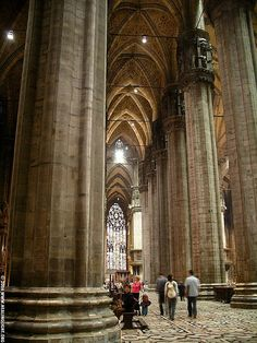 Interior of Duomo, Milano. Soaring,  Majestic, Dominating, Powerful, Reverent, Otherworldly, yet somehow...Simple.