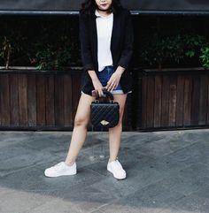 Black blazer with hot pants