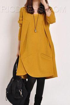 четыре цветные свободные длинные рукава плюс размер платья Повседневные платья