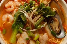A seafood noodle bowl with spicy Korean style broth at the Saigon Hot Pot restaurant in West Valley City. (Trent Nelson  |  The Salt Lake Tribune)