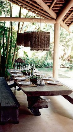 In southern Bahia's hippie-chic beach mecca of Trancoso, no place is more luxurious or less trendy than Uxua Casa Hotel. Beautifully camouflaged amid an edenic tropical garden. Outdoor Rooms, Outdoor Dining, Dining Area, Dining Table, Casa Hotel, Hotel Spa, Villa Design, Terrace Design, Bar Deco
