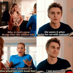 Well this scene was really weird but I was laughing so much I enjoy Chic's character bc I don't know whyy Riverdale Merch, Bughead Riverdale, Riverdale Funny, Love Memes, Funny Memes, Stupid Funny, Hilarious, Riverdale Fashion, Riverdale Characters