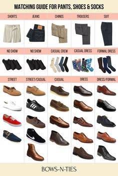 Guide For Matching Pants, Socks and Shoes