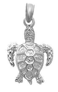 Amazon.com: 14k White Gold Nautical Theme Sea Life Necklace Charm Pendant, Sea Turtle: Million Charms: Jewelry