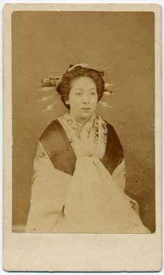 ba166 1880s Japan Old Photo Japanese High-Class Prostitute / Tayu Oiran Geisha