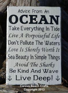 Beach Decor Beach Sign Anchor Decor Advice From The Ocean Wood Sign