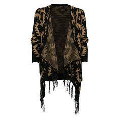Gilet jacquard avec franges ouvert esprit ethnique. Gilet Long, Textiles, Yes To The Dress, Dressed To Kill, Kimono Top, Outfits, Tops, Dresses, Women