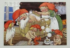 Rolf Lidberg Gnomes Bathing Day Before Christmas Tomte Nisse Sweden 380 Fairy Land, Fairy Tales, David The Gnome, Illustrator, Baumgarten, Creation Photo, Elves And Fairies, Scandinavian Art, Christmas Gnome