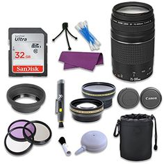 This PagingZone Camera Lens Bundle Includes:Canon EF III Lens for Canon Memory CardAuxiliary Wideangle and Telephoto LensesRubber Lens HoodLens CapLens PC Filter Kit< Canon Zoom Lens, Telephoto Zoom Lens, Canon Ef, Nikon D3100, Sony A6000, Canon Eos Rebel T6i, Camera Photos, Digital Slr, Iphone
