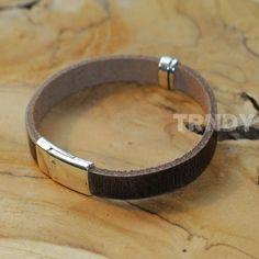 bruin lederen armband met zilveren details