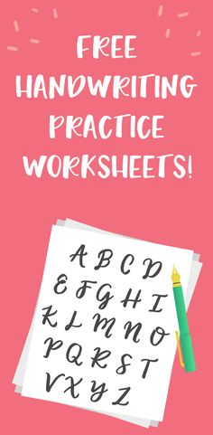 Free Handwriting Practice Worksheets -- Perfect for improving hand lettering