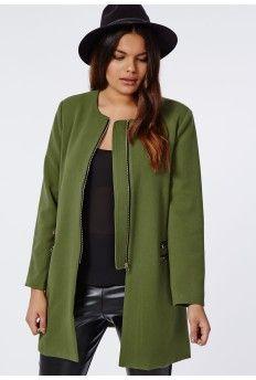 Plus Size Double Zip Collarless Coat Khaki