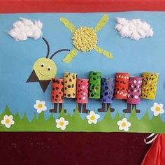 "New Post has been published on www. ""Caterpillar craft idea for kids Tihs page has a lot of free Caterpillar craft idea for kids,parents. Kids Crafts, Summer Crafts, Toddler Crafts, Projects For Kids, Diy For Kids, Craft Projects, Diy And Crafts, Arts And Crafts, Toilet Paper Roll Crafts"