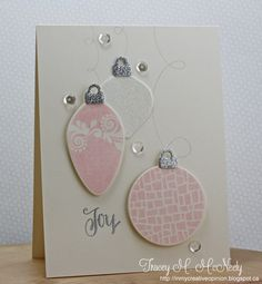 ornaments and sequins card - love the glitter on the tops of the ornaments - bjl