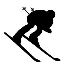 Downhill Snow Skier Vinyl Wall Decal - Skiing Silhouette Decor for Home, Lodge, Resort Ski Vintage, Silhouette Vinyl, Snow Skiing, Winter Art, Ski And Snowboard, Winter Olympics, Olympic Games, Kayaking, Canoeing