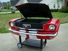 Mustang Barbecue Grille - couldn't do that with a Corvette Stingray Car Part Furniture, Automotive Furniture, Automotive Decor, Furniture Making, Furniture Design, Barbecue Original, Parrilla Exterior, Old Car Parts, Bbq Grill