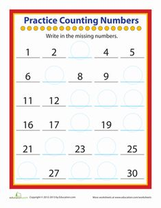 Practice counting numbers all the way up to This fill-in-the-blank worksheet helps students develop their number sense while giving them a chance to practice writing and ordering numbers and A useful resource for students in kindergarten, Number Worksheets Kindergarten, Teaching Numbers, Numbers Preschool, Writing Worksheets, Kindergarten Counting, Counting Worksheet, Free Preschool, Kindergarten Writing, Free Math